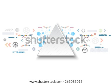 vector triangle frame, abstract technology background, internet of things - stock vector