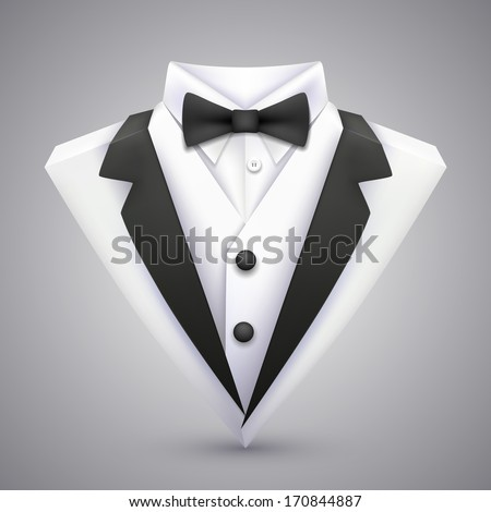 Vector triangle jacket with a bow tie. - stock vector