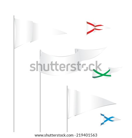 Vector triangle white flags template with examples of use. - stock vector