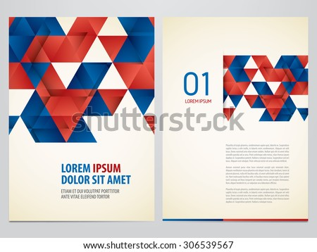 Vector triangles brochure, flyer template. Modern blue and red corporate design. - stock vector