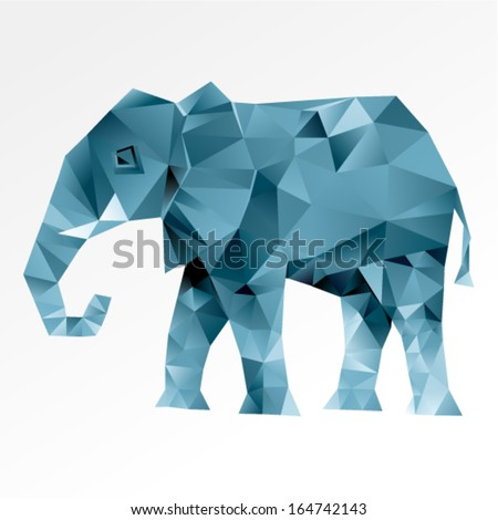 Vector triangular art - Elephant abstract isolated on a white backgrounds  - stock vector