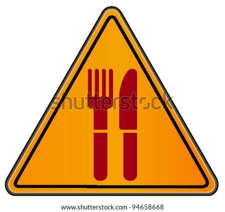 vector triangular road sign with fork and knife - stock vector