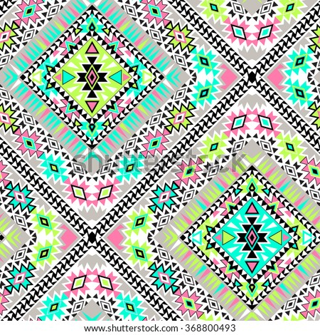 vector tribal aztec seamlesss patterns. neon colors, geometric zigzag ethnic elements, beautiful borders and symmetry. for fashion, stationery, interior, wrapping.  - stock vector