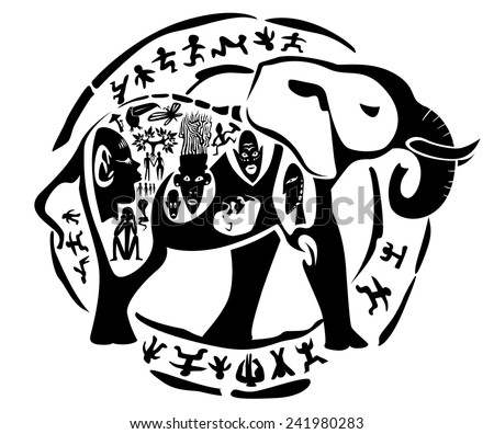 Vector tribal elephant, mammoth illustration, tattoo stamp - stock vector