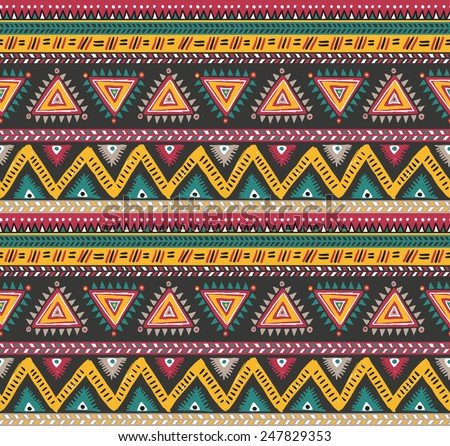 Vector tribal striped seamless pattern. Geometric background  - stock vector