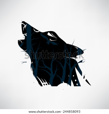 Vector tribal tattoo with wolf and bare branches - stock vector