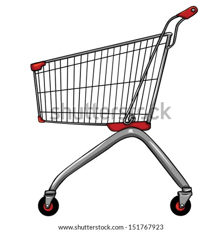 vector trolley for shopping - stock vector