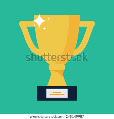 Vector Trophy Cup Flat Icon  - stock vector