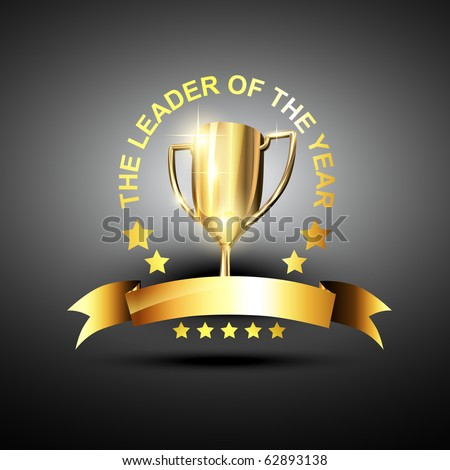 vector trophy in golden color in business leading theme - stock vector