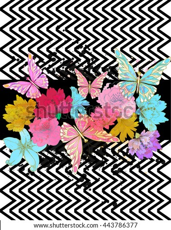 Vector tropical background with flowers , geometric elements and colorful  blots.   - stock vector