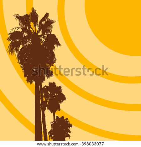 Vector tropical illustration with sun and palm trees. Summer sunrise image - stock vector