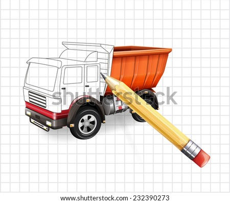 Vector truck sketch vector illustration - stock vector