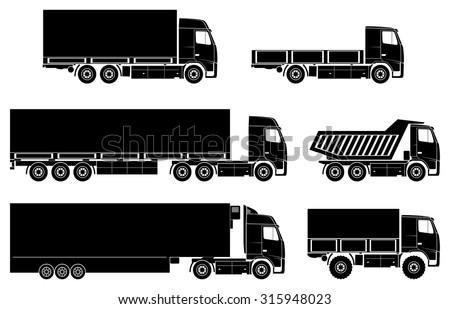 Vector trucks icons set. - stock vector