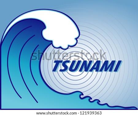 vector - Tsunami. Giant tsunami wave crest, ocean earthquake epicenter. EPS8 includes radial gradient. - stock vector