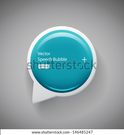 Vector turquoise glossy round 3d plastic speech bubble - stock vector