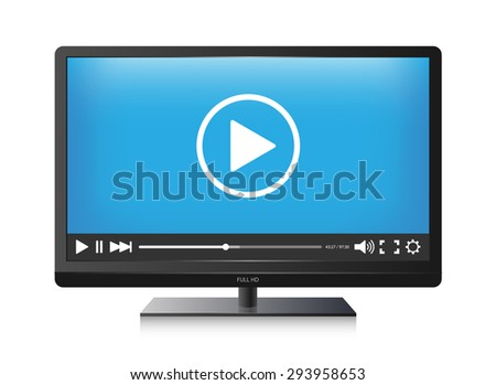 Vector TV screen and Video player - stock vector