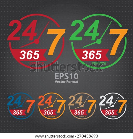 vector : 24 7 365, twenty four seven, round the clock service sticker, icon, label, banner, sign - stock vector