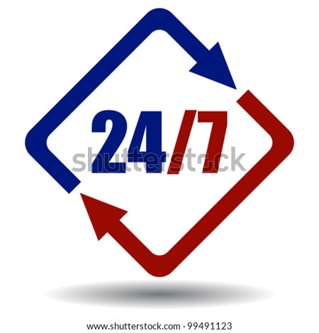 Vector twenty four seven symbol - stock vector