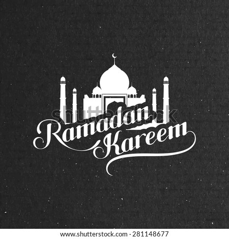 vector typographic illustration of handwritten Ramadan Kareem retro label. lettering composition of muslim holy month with mosque building - stock vector
