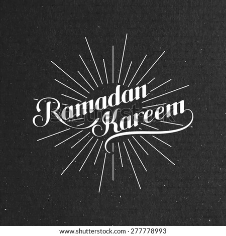 vector typographic illustration of handwritten Ramadan Kareem retro label with light rays. lettering composition of muslim holy month. - stock vector