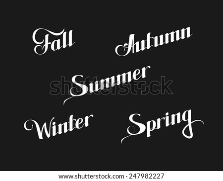 vector typographic illustration of handwritten seasons of the year (Winter, Spring, Summer, Autumn or Fall) retro label. lettering composition  - stock vector