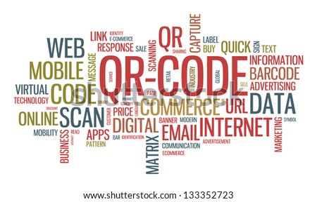 Vector typographical wordcloud illustration concept with multiple words on QR code technology theme - stock vector