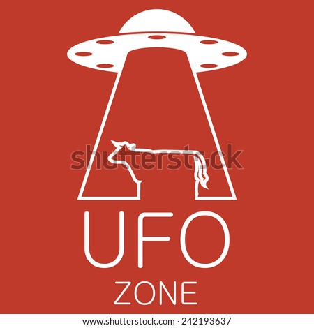 Vector ufo zone logo on red background - stock vector