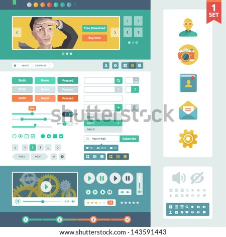 Vector UI elements for web and mobile. Flat design trend. Controls, buttons,icons and media player. Fitted to the pixel grid. - stock vector