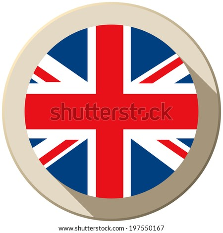 Vector - UK Flag Button Icon Modern - stock vector