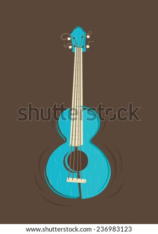 Vector ukulele guitar on vintage brown background   - stock vector