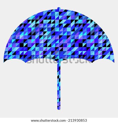 Vector umbrella symbol made of triangles,geometric shapes. Vector illustration. Autumn theme. Umbrella backdrop. Banner. Card. - stock vector