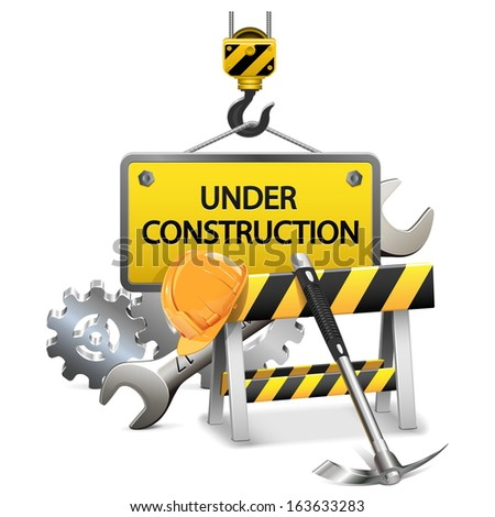 Vector Under Construction Concept with Frame - stock vector