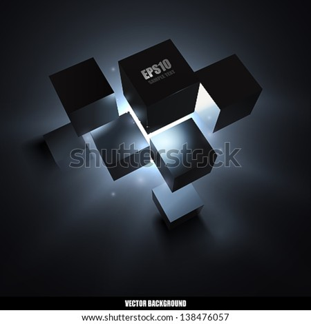 Vector under cubes explosion - stock vector