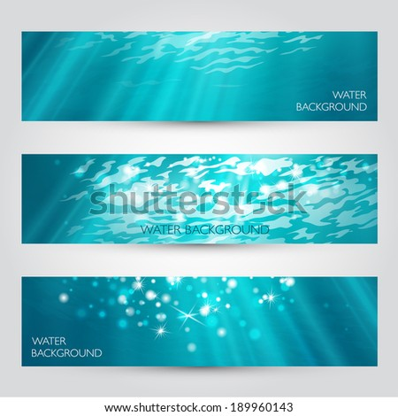 Vector under water banners set.  - stock vector