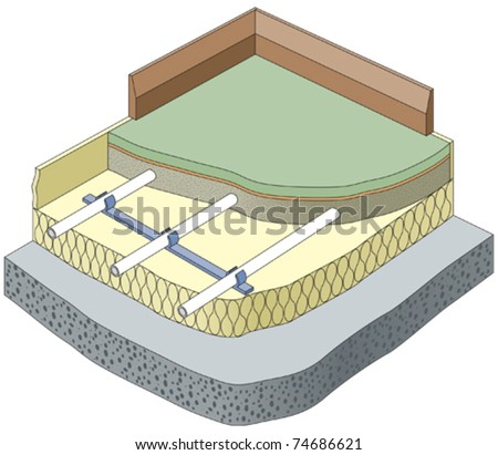 Vector Underfloor heating pipes section - stock vector