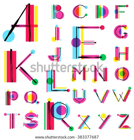 Vector unique colorful alphabet made of simple geometrical shapes with hand drawn sketch elements. Beautiful vivid isolated capital latin letters from A to Z. Ready for poster or artwork design. - stock vector