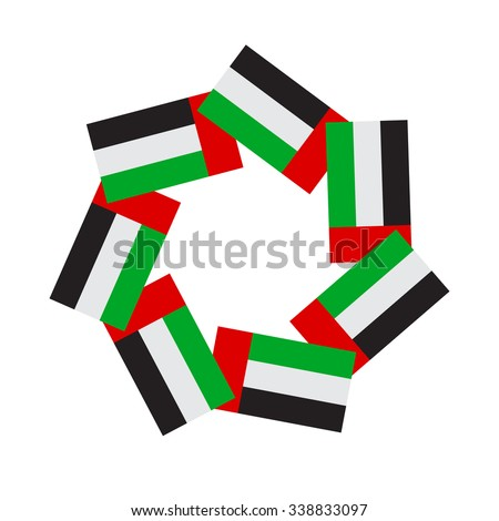 Vector unit made of UAE national flags which represents unity of seven  Emirates. - stock vector