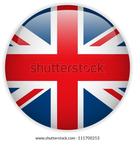 Vector - United Kingdom Flag Glossy Button - stock vector