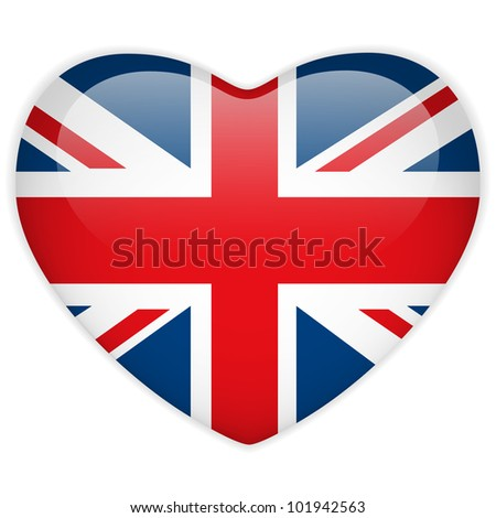 Vector - United Kingdom Flag Heart Glossy Button - stock vector