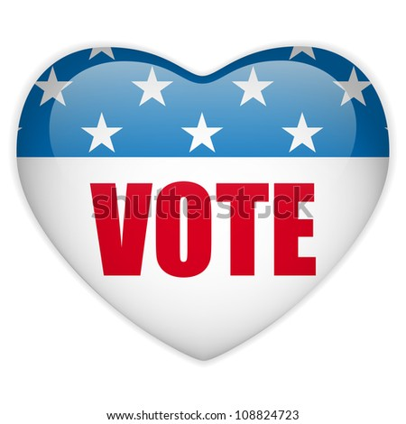 Vector - United States Election Vote Heart Button. - stock vector