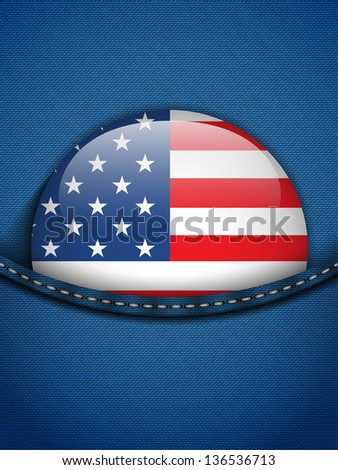 Vector - United States Flag Button in Jeans Pocket - stock vector