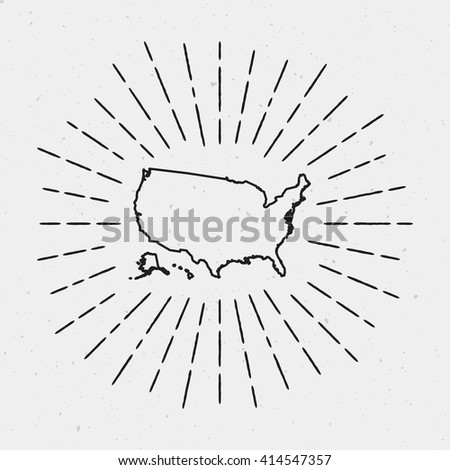 Vector United States Map Outline with Retro Sunburst Border. Hand Drawn Hipster Decoration Element. Black Radiant Light Rays on White Background. - stock vector