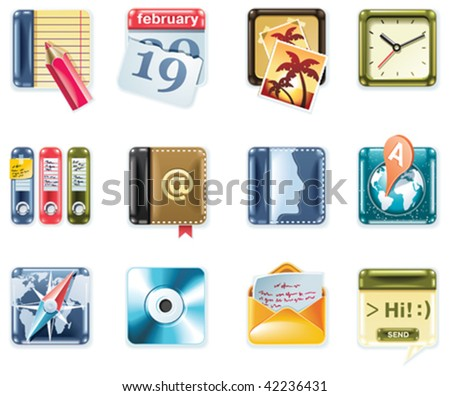 Vector universal square icons. Part 1  (white background) - stock vector