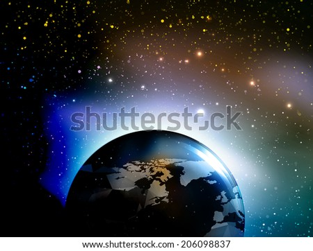 Vector Universe background with Earth for presentation design. Brochure star and space template - stock vector
