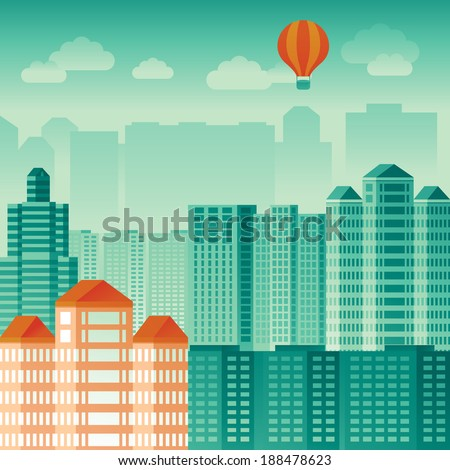 Vector urban concept in flat style - skyscrapers and modern tall buildings - city illustration - stock vector