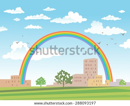 Vector urban landscape with buildings and rainbow on a sunny day - stock vector