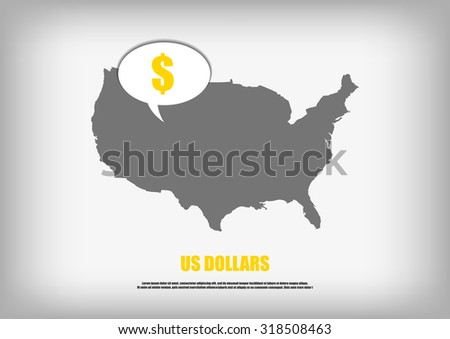 Vector : USA map and us dollar in bubble quote - stock vector