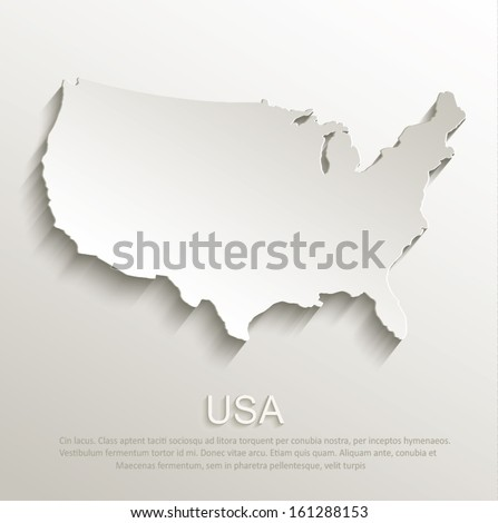 vector USA map card paper 3D natural - stock vector