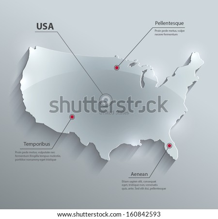 vector USA map glass card paper 3D america united states - stock vector