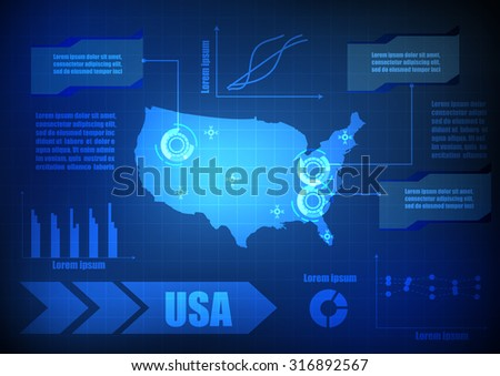 Vector : USA map with network line and grid blue background - stock vector